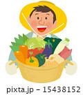 野菜11種のかごを持った農家のおじさん 15438152