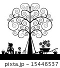 Tree Silhouette with Gardening Tools  15446537