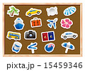 tourism icons on wooden board Vector 15459346