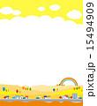 山村 家並み 背景素材のイラスト 15494909