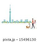 お出かけ スカイツリー 犬のイラスト 15496130