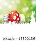 Easter Card 3 Eggs White Grass Rabbit 15500136