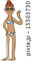 日焼け ビキニ 夏のイラスト 15503730