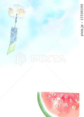 風鈴とスイカのイラスト素材 [15506399] - PIXTA