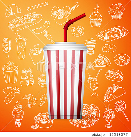 Soda fountain drink and hand draw fast food icon for Sillas para fuente de soda