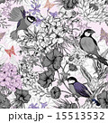 Retro Summer Seamless Monochrome Floral Pattern with Birds and Butterflies 15513532