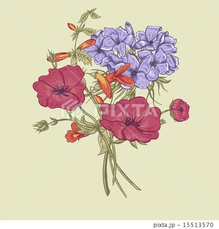 Gentle Retro Summer Floral Greeting Card, Vintage Bouquet, Vector illustrationのイラスト素材 [15513570] - PIXTA