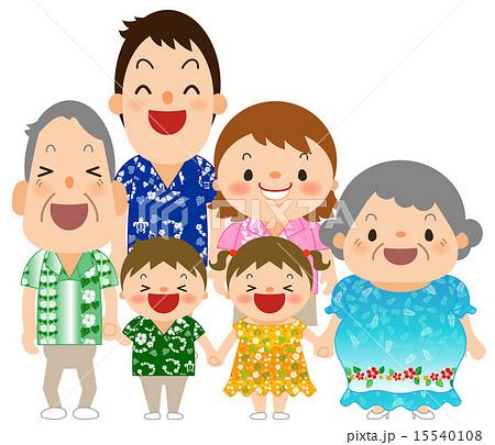 アロハシャツを着た3世代家族 15540108