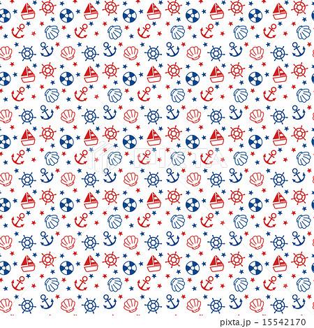ガーリーでかわいい赤青白のマリン柄のイラスト 繰り返しパターン