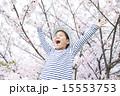 男の子 バンザイ 桜の写真 15553753