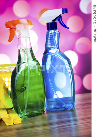 Assorted cleaning products, home work colorful の写真素材 [15566248] - PIXTA
