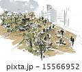 遊歩道 街路樹 公園のイラスト 15566952