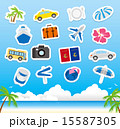 tourism icons on wooden board Vector 15587305