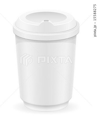 white cup for coffee or tea vector illustrationのイラスト素材 [15588275] - PIXTA