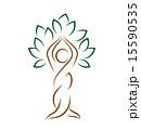 記章 ヨガ 樹木のイラスト 15590535