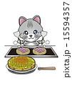 お好み焼きを作る猫 15594357
