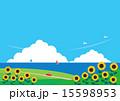 背景素材(ヨコ)-向日葵と海の見える風景 15598953