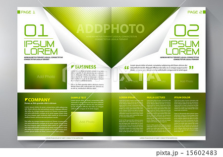brochure design two pages a4 template のイラスト素材 15602483 pixta