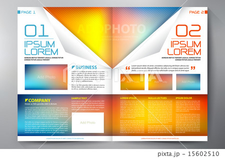 brochure design two pages a4 template のイラスト素材 15602510 pixta