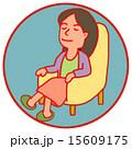 うたた寝 女性 椅子のイラスト 15609175