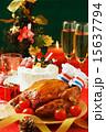 クリスマスケーキとローストチキン 15637794