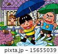 雨降り 男の子 水たまりのイラスト 15655039