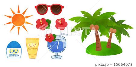 かわいい夏向けイラストカットのセット素材集バカンスリゾート
