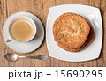 Top view on cup of coffee and plate with cookies 15690295