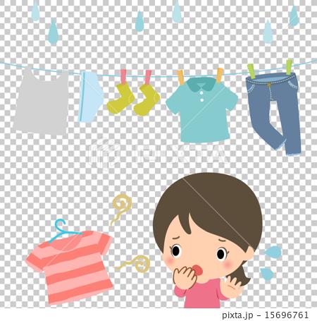 洗濯物の臭いに悩む女性 15696761