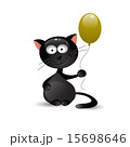 Black cat with balloon. Vector illustration 15698646
