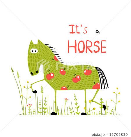 Childish Colorful Fun Cartoon Horse in Grass Fieldのイラスト素材 [15705330] - PIXTA