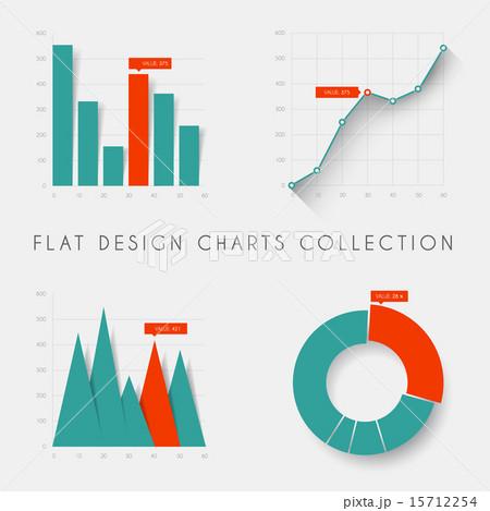 Set of vector flat design statistics charts and graphsのイラスト素材 [15712254] - PIXTA