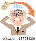 資産が減り頭を抱えて青ざめる年配のスーツの男性 15723880