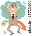 資産が減り頭を抱えて青ざめる年配のスーツの男性全身 15723890