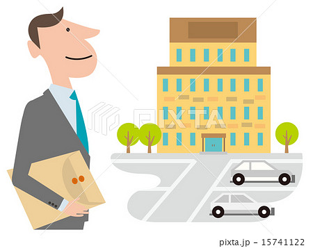 ビルに向かう書類を持ったスーツの男性 15741122