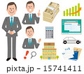 スーツの男性と会社アイコン11種セット 15741411