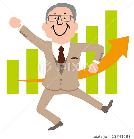 手を上げ喜ぶ年配のスーツの男性と上昇するグラフ 15741593