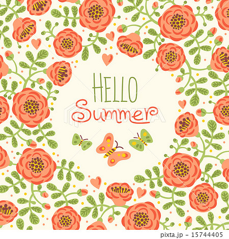 Season card Hello Summer with cute flowers and butterfliesのイラスト素材 [15744405] ...