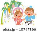 七夕の笹飾りと織姫と彦星 15747399