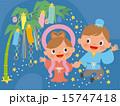 七夕の笹飾りと天の川の織姫と彦星 15747418