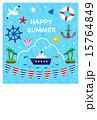 ハガキテンプレート 暑中お見舞い ハッピーサマーのイラスト 15764849