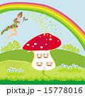 funny cartoon mushroom house and beautiful fairy 15778016