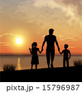 Father and children silhouettes 15796987