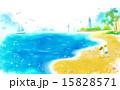 海 ビーチ 浜辺のイラスト 15828571