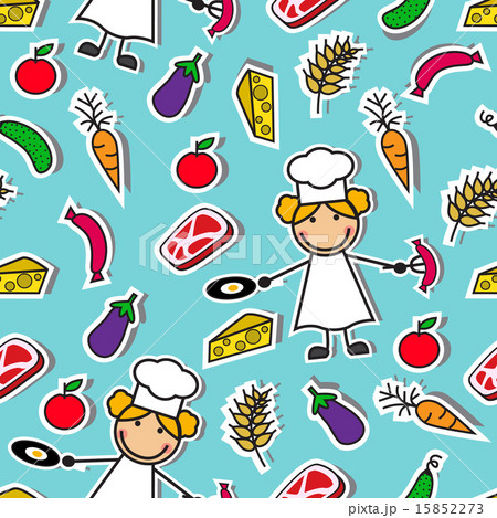 Cartoon seamless pattern with chef and foodのイラスト素材 [15852273] - PIXTA