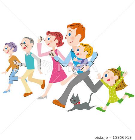 横に並んで走る三世代家族のイラスト素材 15856918 Pixta
