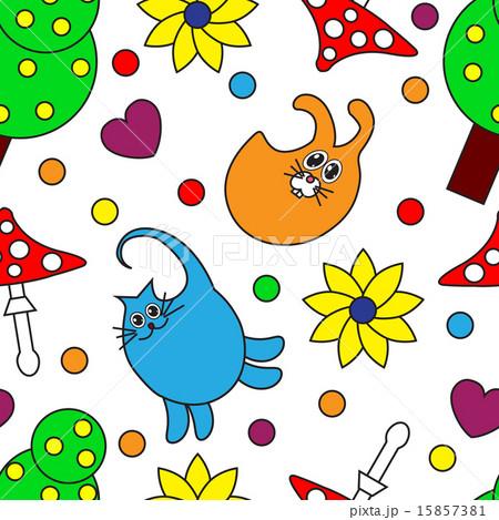 Cartoon seamless pattern with animalsのイラスト素材 [15857381] - PIXTA