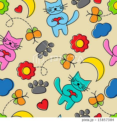 Cartoon seamless pattern with catsのイラスト素材 [15857384] - PIXTA