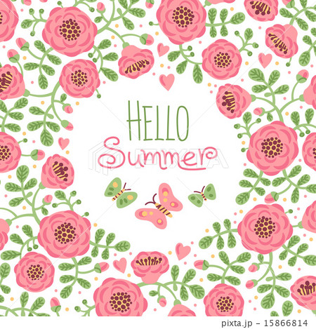 Season card Hello Summer with cute flowers and butterfliesのイラスト素材 [15866814] ...