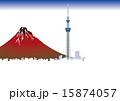 東京スカイツリーと富士山 15874057